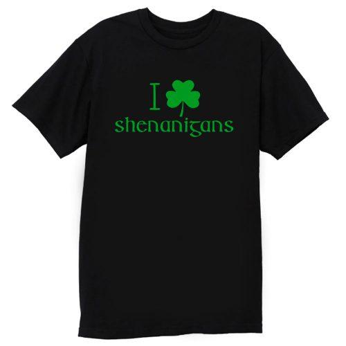 I Love Shenanigans Shamrock Clover Irish T Shirt