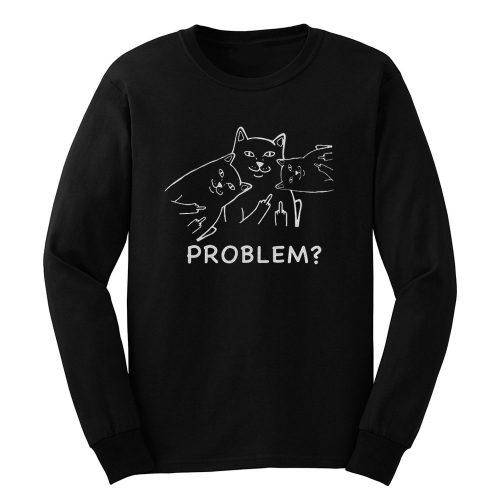 Middle finger cat Long Sleeve