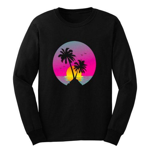 Retro 80s Neon Summer Beach Sunset Long Sleeve