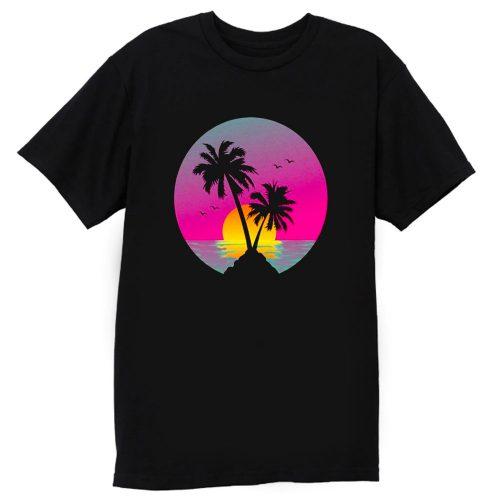 Retro 80s Neon Summer Beach Sunset T Shirt