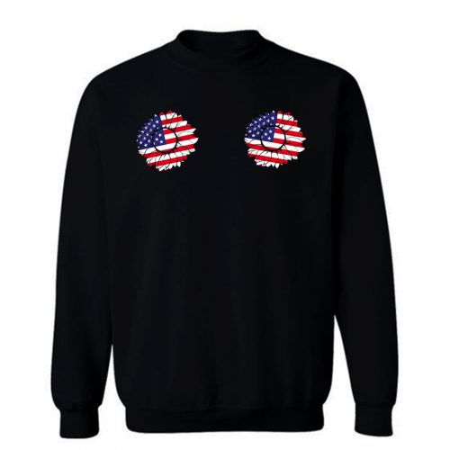4th of July Sunflower Boobs USA flag Sweatshirt