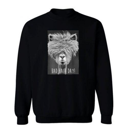 Bad Hair Day Hipster Llama Hipster Sweatshirt
