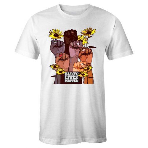 Black Lives Matter Hand Fist Flower T Shirt