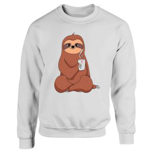 Cute Sloth Drink Coffee And Yoga Sweatshirt