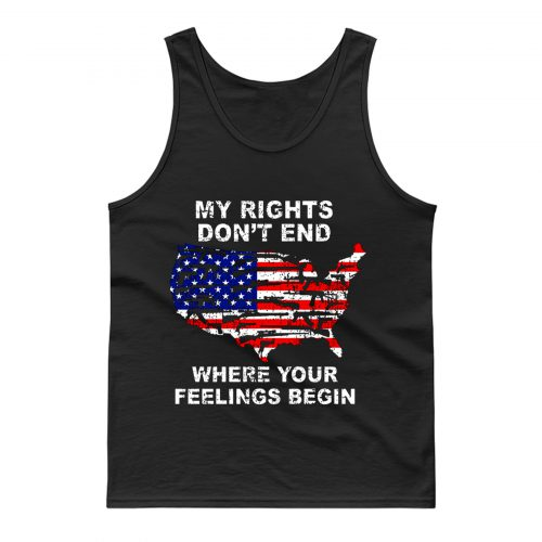 My Rights Dont End US Map American Flag Pistol Gun Tank Top