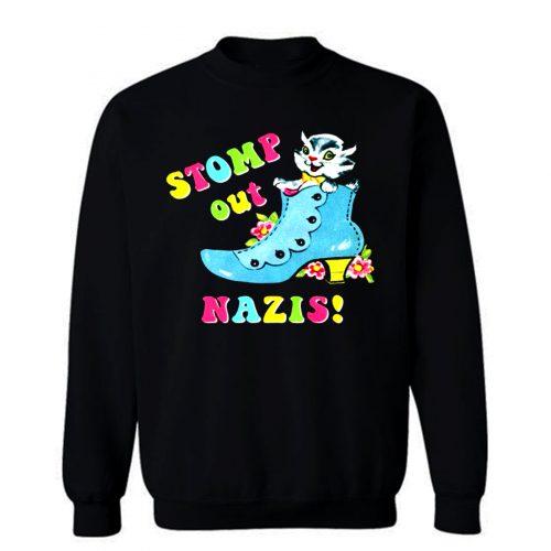 Stomp Out Nazis Vintage Cat Sweatshirt
