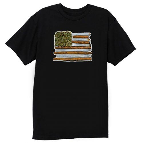 Weed Flag America High Drug Funny T Shirt