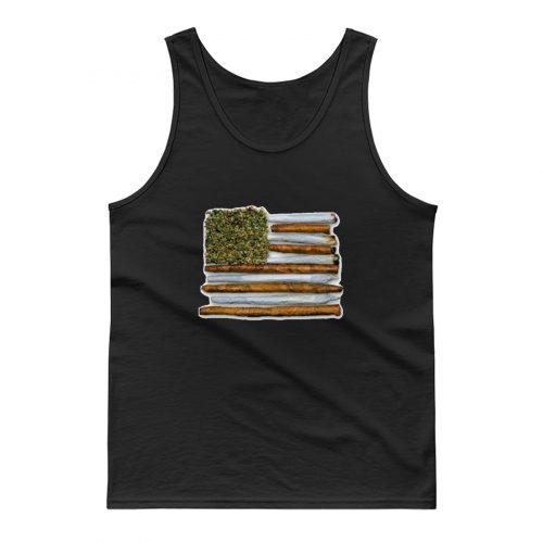Weed Flag America High Drug Funny Tank Top