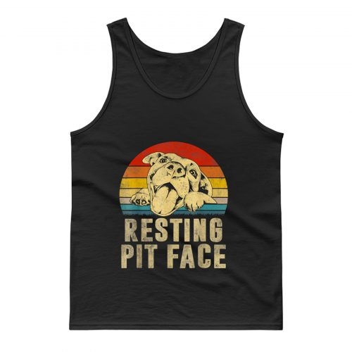 Dog Pitbull Resting Pit Face Vintage Tank Top