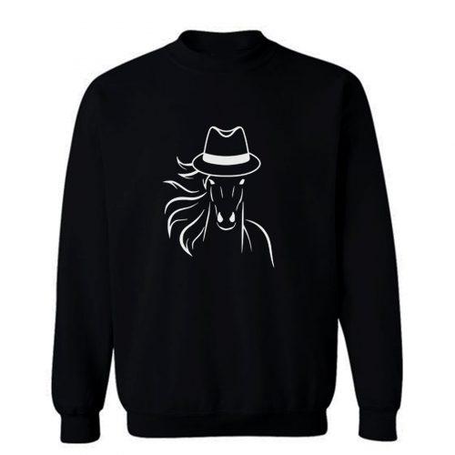 Horse With Fedora Hat Sweatshirt
