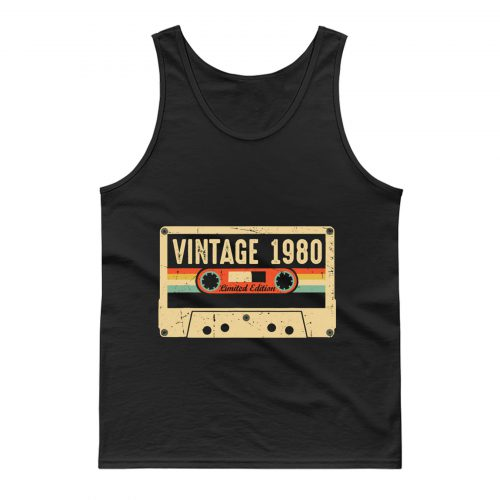 Vintage 1980 Made in 1980 40th birthday Gift Retro Cassette Tank Top