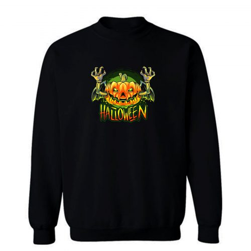 Vampire Bat Halloween Pumpkin Head Sweatshirt
