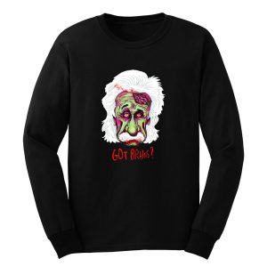 Zombie Einstein Tee Scientist Mustache Genius Blood Halloween Cool Long Sleeve