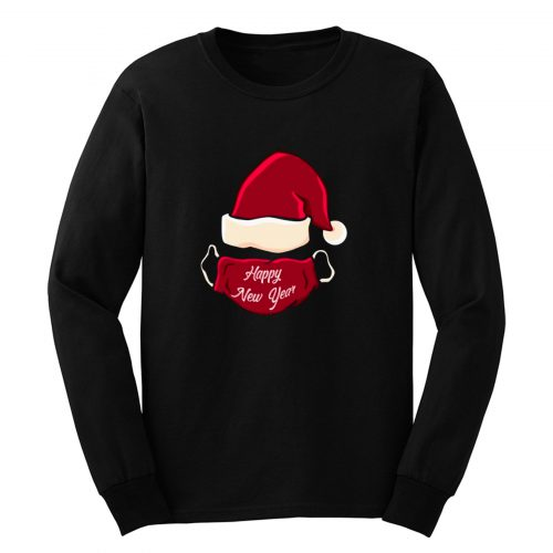 Christmas Santas Hat With Mask Happy New Year Long Sleeve