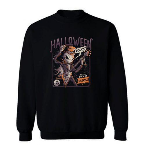 Halloween Rocks Spooky Skellington Rocker Sweatshirt
