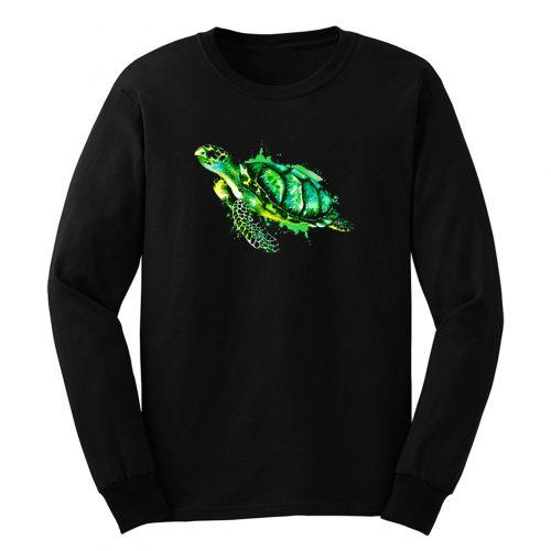 Watercolor Sea Turtle Green Sea Turtle Long Sleeve