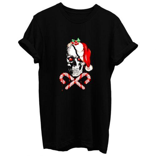 Candy Cane Skull T Shirt