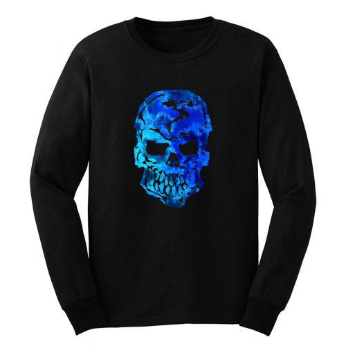 Blue Ocean Human Skull Long Sleeve