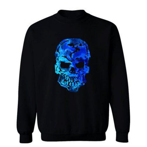Blue Ocean Human Skull Sweatshirt