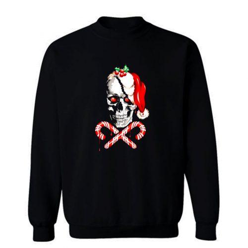 Candy Cane Skull Sweatshirt
