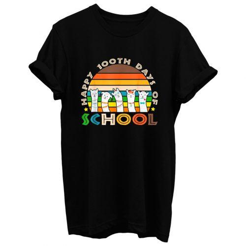 Cute Llama Happy 100th Days Of School T Shirt