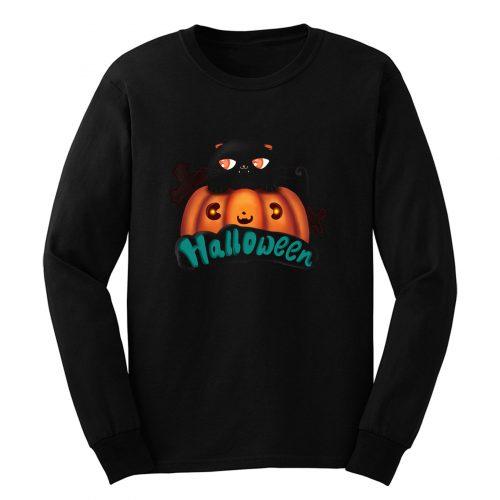 Halloween Black Cat Cute Pumpkin Long Sleeve