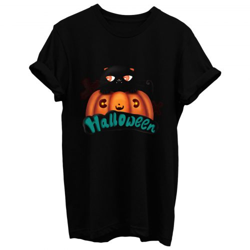 Halloween Black Cat Cute Pumpkin T Shirt