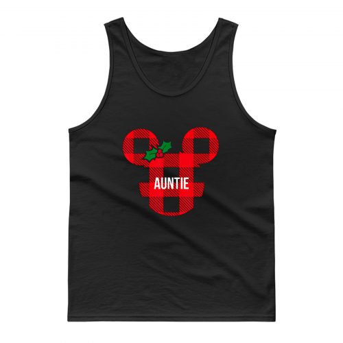 Mickey Minnie Mouse Mistle Toe Ribbon Auntie Cute Tank Top