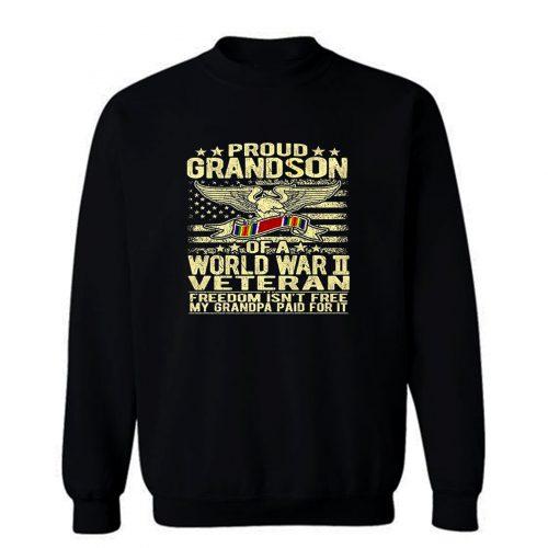 Proud Grandson Of A World War Ii Veteran Family Military Old Staff Sweatshirt