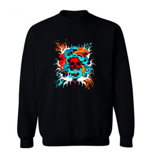Skull Snake Head Tattoo Sweatshirt
