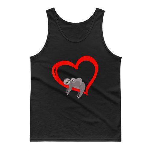 Sloth Valentines Day Womens Sloths Valentine Heart Tank Top