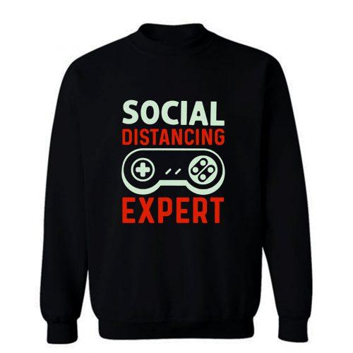 Social Distancing Expert Gaming Vintage Video Gamer Sweatshirt