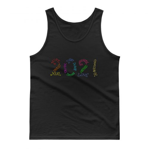 Year 2021 Rainbow Inspirational Words Tank Top
