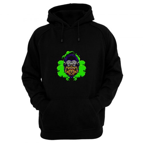 Gorilla With Gas Mask Illustration Hoodie