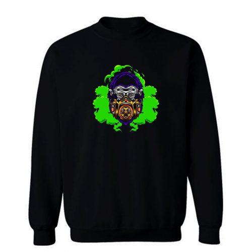 Gorilla With Gas Mask Illustration Sweatshirt