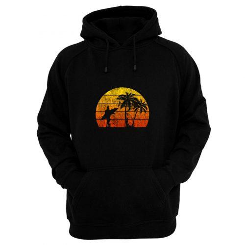Man Surf Surfing Beach Palm Tree Sunset Hoodie