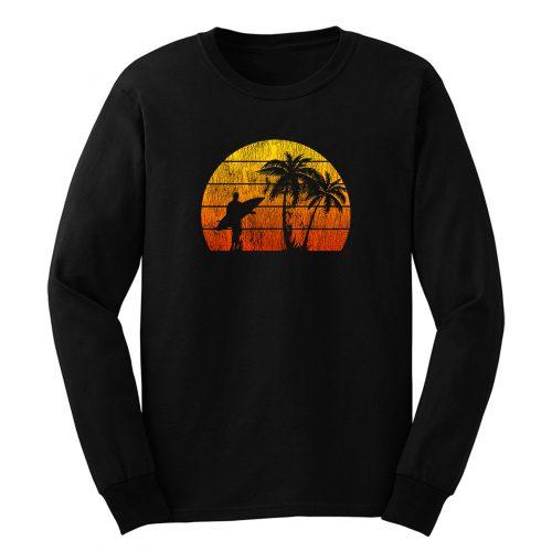 Man Surf Surfing Beach Palm Tree Sunset Long Sleeve