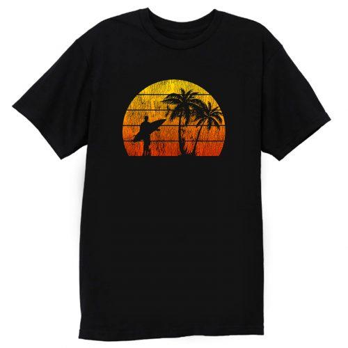 Man Surf Surfing Beach Palm Tree Sunset T Shirt