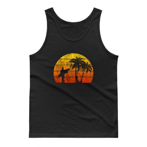 Man Surf Surfing Beach Palm Tree Sunset Tank Top