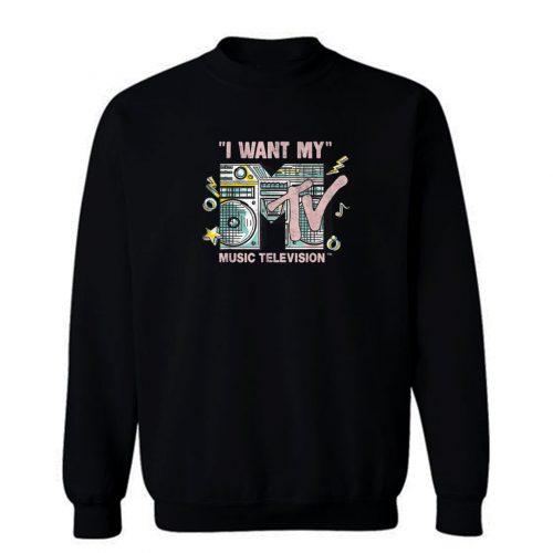 Mtv I Want My Retro Boombox Graphic Sweatshirt