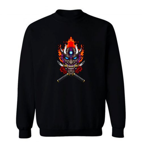 Oni Mask Illustration Sweatshirt