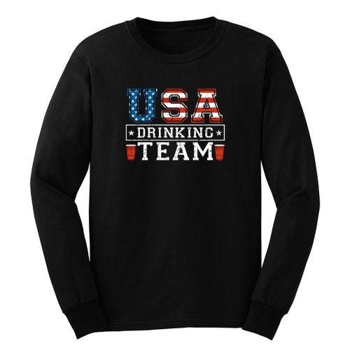 Usa Drinking Team Funny Usa 4th Of July Long Sleeve