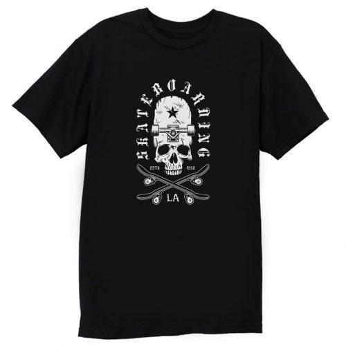Skateboarding Skate Boarding La Skull Board T Shirt